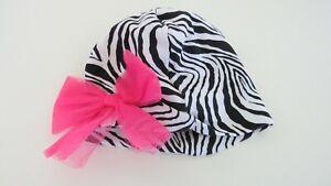 NWOT Babyrageous Baby Hat Girls 3-6 Months Black Zebra Stripes Pink Bow #30