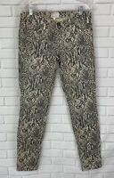 Current Elliott Women's Ankle Skinny Jeans Snake Print Gray Beige Size 28