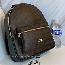 Coach F32200 Medium Charlie Backpack Signature Canvas Brown Black