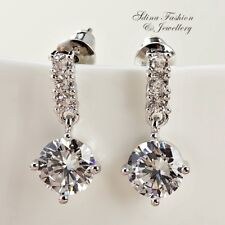 18K White Gold Filled Simulated Diamond Round Cut 1.5 Carat Sparking Earrings