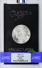 1885-CC Morgan Silver Dollar, NGC MS 64 & CAC Approved in GSA holder