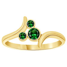 Round Shape Emerald Bypass Mickey Mouse Ring 14K Yellow Gold Over