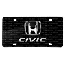 Honda Civic 3D Dual Logo on Logo Pattern Black Aluminum License Plate