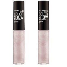2 x Maybelline Color Show Lip Gloss #160 White Glitz 5ml 100% Brand New