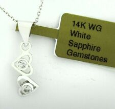 WHITE SAPPHIRE DOUBLE HEART PENDANT NECKLACE 14k WHITE GOLD * New With Tag *