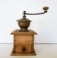 VTG Primitive Antique  Coffee Grinder Wooden w Iron Crank Drawer Working
