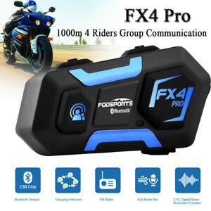 3x FX4 Pro 1KM Motorcycle Helmet Intercom 4 Rider Group Stereo Bluetooth Headset