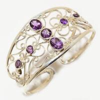 Amethyst Gemstone Handmade Ethinc 925 Sterling Silver Cuff Bracelet Adst. C-6