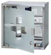 MEDICINE CABINET 2 SHELVES STAINLESS STEEL LOCK & KEY WITh GLASS DOOR 30X12X30CM
