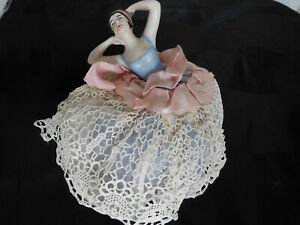 Leaning stretching HALF DOLL Pincushion LACE skirt vintage Germany flapper