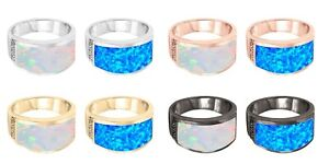 Large Fire Opal Band Genuine Sterling Silver Ring