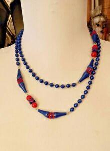 VINTAGE 50/60s Beaded Necklace Blue/Red GEOMETRIC Pattern Unique Design Pretty
