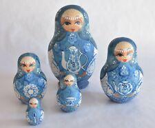 Russian Matryoshka Nesting Dolls Women w/ Tea Service - Signed