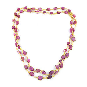 Elegant 925 Sterling silver Ruby rough stone in Gold ploish necklace for gift