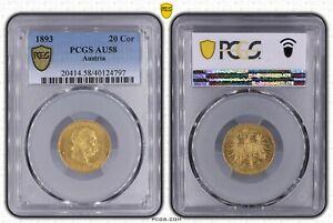 AUSTRIA 1893 20 CORONA GOLD EMPEROR FRANZ JOSEF I CERT PCGS AU58