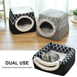 Pet Cat Dog Nest Bed Closed Cat Room Sleeping Mat Puppy Soft Warm Cave House