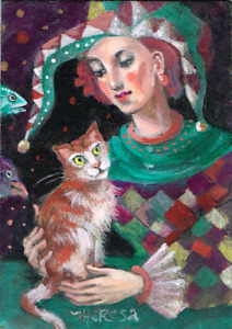 ACEO Original art NFAC checkers jester cat lady bird fish harlequin TBARTSARTIST