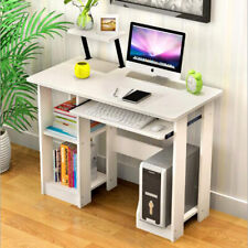 Small White Computer Desk Laptop PC Kid Table 2 Shelves Corner Home Office Study