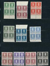 ARGENTINA 1923-24 SAN MARTIN (Scott 343-352) F/VF fresh MNH blocks of 4