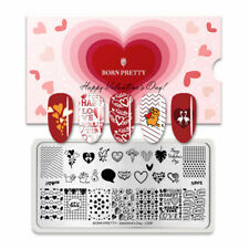 Nail Art Stamping Plate Image Decoration Valentines Day Love Hearts Cat (BPL08)