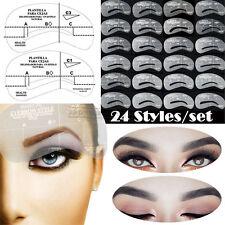 24 Eyebrow Shaping Stencils Kit Brow Makeup Set Grooming Template Reusable