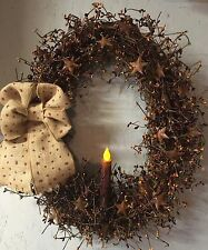 "18"" Primitive Country Oval Grapevine WreathW/pip Berries & Stars & Candle"