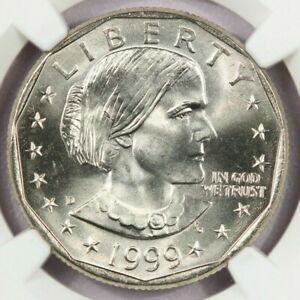 1999-D Susan B. Anthony Dollar NGC MS66 Flashy coin from a freshly graded roll