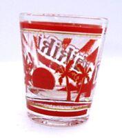 Waikiki Hawaii Vintage Libbey Red Shot Glass Barware Collectible Travel Souvenir