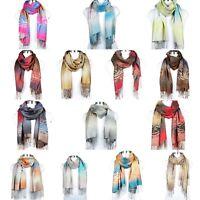 Shawl Scarf Wrap Winter Warm Long Women Soft Pashmina Scarves Floral Blend Wool