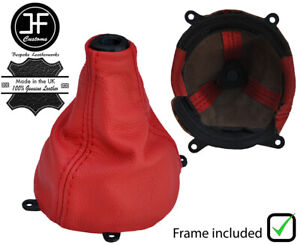 RED REAL LEATHER SHIFT BOOT + PLASTIC FRAME FITS HONDA CIVIC SI 2006-2012