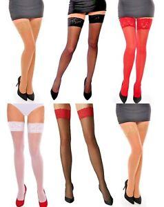 Aurellie Sheer Hold Ups Lace Top Stockings Hosiery