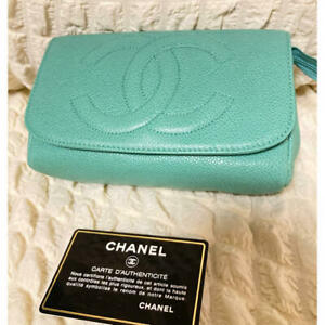 CHANEL Pouch Mini Green Caviar Leather Grained CC Logo Mirror Clutch with Card
