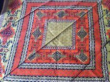 Petit carré foulard Souleiado coton rouille & kaki 46x46 cm