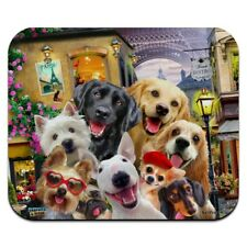 Old Paris Eiffel Tower Dogs Selfie Low Profile Thin Mouse Pad Mousepad