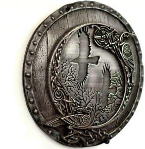 Odin's Ravens Huginn and Muninn on Viking Shield Iron Wall Sculpture Home Decor