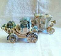 Vintage Hand Painted Drip Glaze Pottery Victorian Coach Cars Set 2 Marked Japan