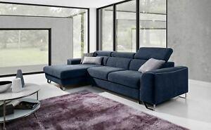 Luxurious Masti Designer Leather Fabric Corner Sofa Bed