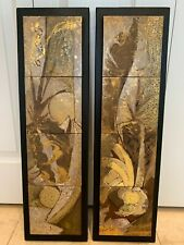 Vintage Lovely Abstract Design Pair of Mounted Mosaic Art Tiles Panels