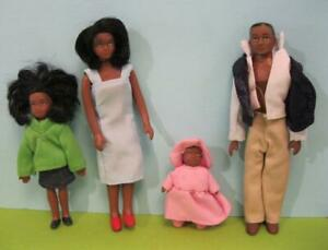 """aa bendy, unbranded vintage about 5.5"""" tall AA Black people family baby mom dad"""