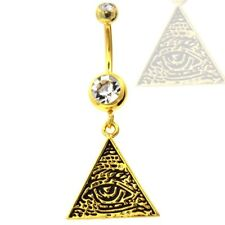 GOLD PLATED ILLUMINATI ALL SEEING EYE TRIANGLE DANGLE BELLY RING NAVEL JEWELRY