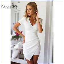 Women V Neck Irregular Cocktail Party Evening Club Prom Mini Dress -069 White UK 10