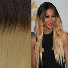 XTRA THICK BALAYAGE OMBRE CLIP IN REMY HUMAN HAIR EXTENSIONS BROWN BLONDE 1B/613