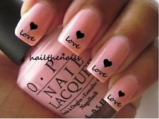 Nail WRAPS Nail Art Water Transfers Decals - Love & black hearts Y057