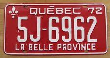 Quebec 1972 License Plate NICE QUALITY # 5J-6962