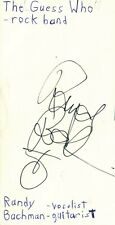 Randy Bachman Vocalist Guitarist Guess Who Rock Band Signed Index Card JSA COA