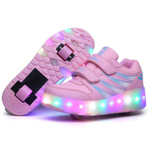 Boys Girls LED Shoes Kids Flash Wheels Roller Skate Trainers Chargeable Walking