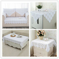 White Vintage Embroidered Lace Table Cloth Doily Floral Tablecloth Wedding Party