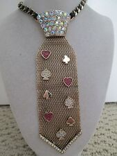 NWT Auth Betsey Johnson Casino Royale Suit Charm Goldtone Tie Statement Necklace
