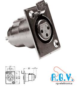 Connettore femmina XLR cannon 3 pin x presa microfonica 3 poli da pannello 14103