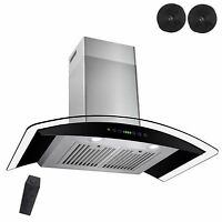 """New 30"""" Wall Mount Black Ductless Stainless Steel Range Hood Stove Vents Kitchen"""